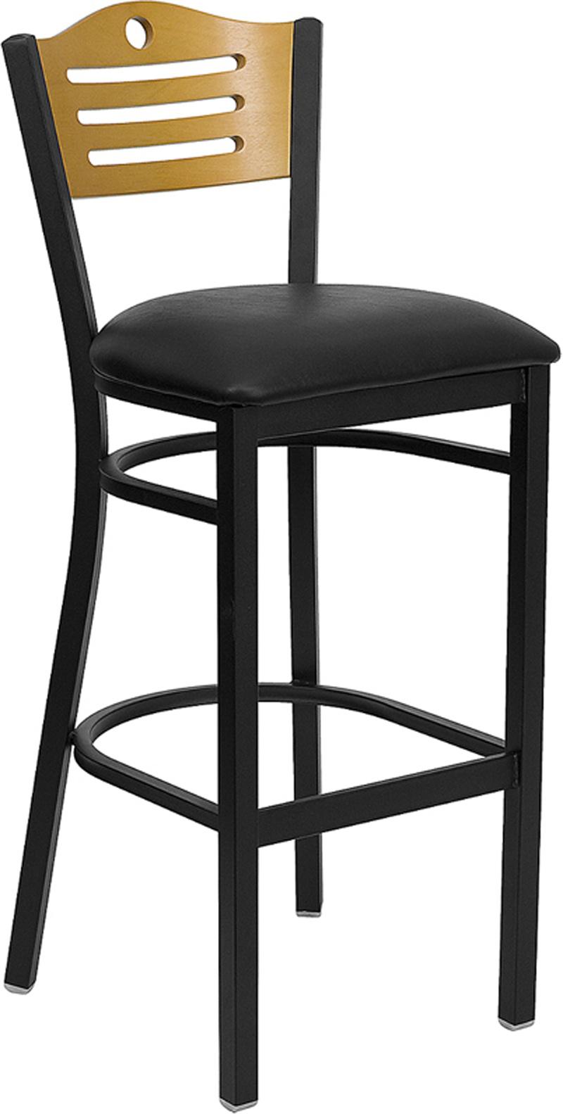 Metal Restaurant Bar Stool, Wood Back, Vinyl Seat