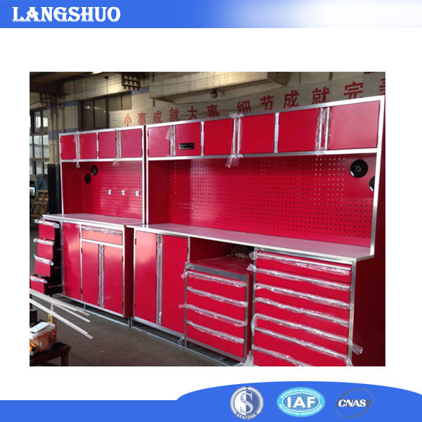 Red Garage/Kitchen Used Metal Cabinet with Drawers and Lockers