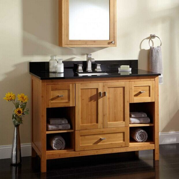 Modern Carbonized Solid Bamboo Bathroom Cabinet