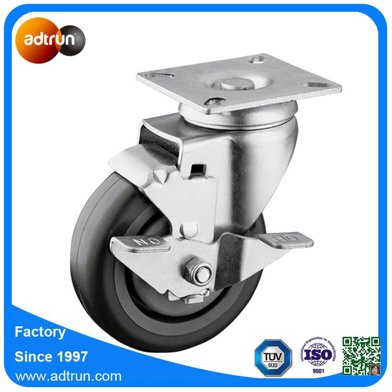 Medium Duty Tread Lockable Casters with 4 Inch PU Wheels