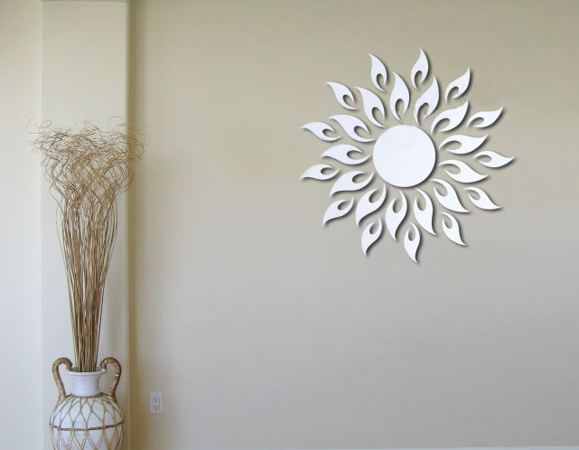 Bathroom wall decorations sunburst wall decor for Stickers miroir