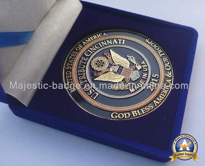 Zinc Die Cast Plating Gold Soft Enamel Challenge Coin