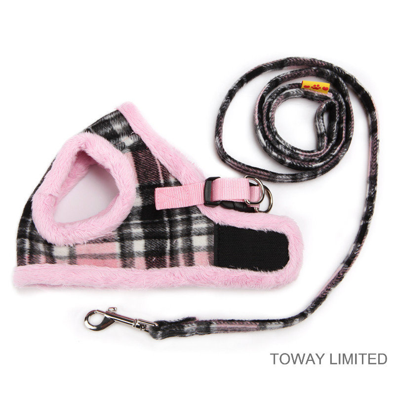 Wholesale England Style Grid Velvet Warm Pet Harness with Leashes