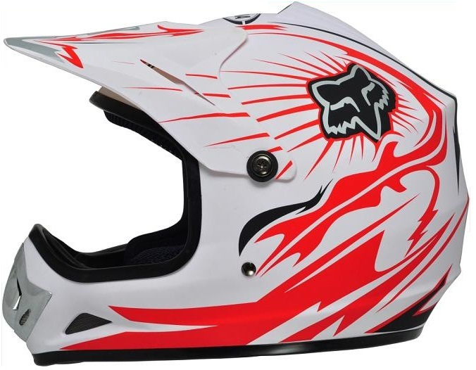 Motocross Fox Helmet with Full Face Shield Visor, Casco Moto. Road-Cross Helmet
