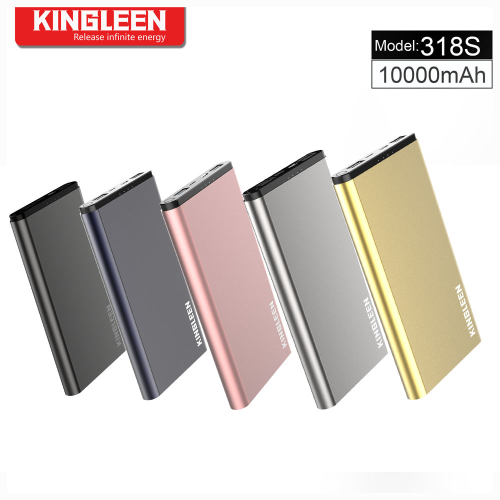 Kingleen 318s Power Bank 10000mAh Dual USB 2A Output for Lightning and Micro