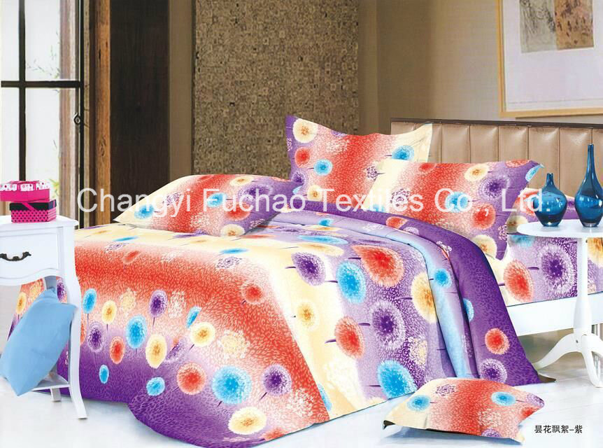 Made in China 100% Polyester Microfiber Printed Bedding Set Used for Home or Hotel