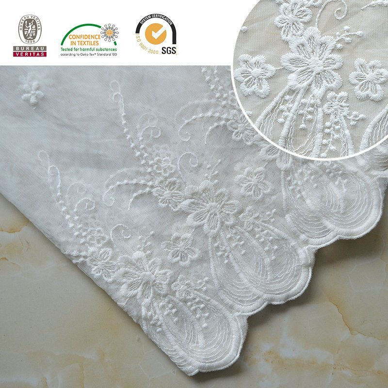 High Quality Embroidery Lace Fabric Polyester Trimming Fancy Melt Polyster Lace for Garments & Home Textiles E30022