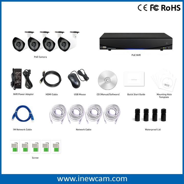 Outdoor 1080P Poe 4CH CCTV IP Camera Video Surveillance System
