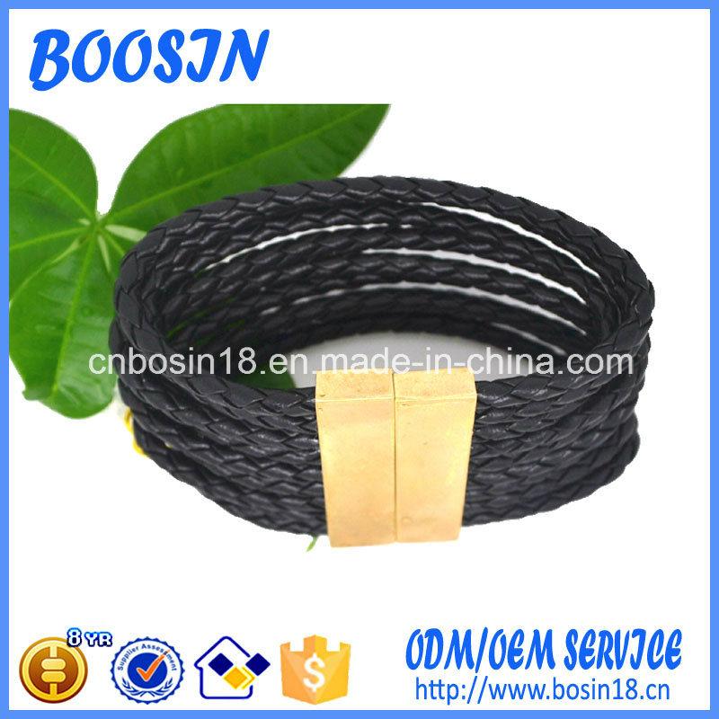 Factory Custom Braded Leather Bangle for Men