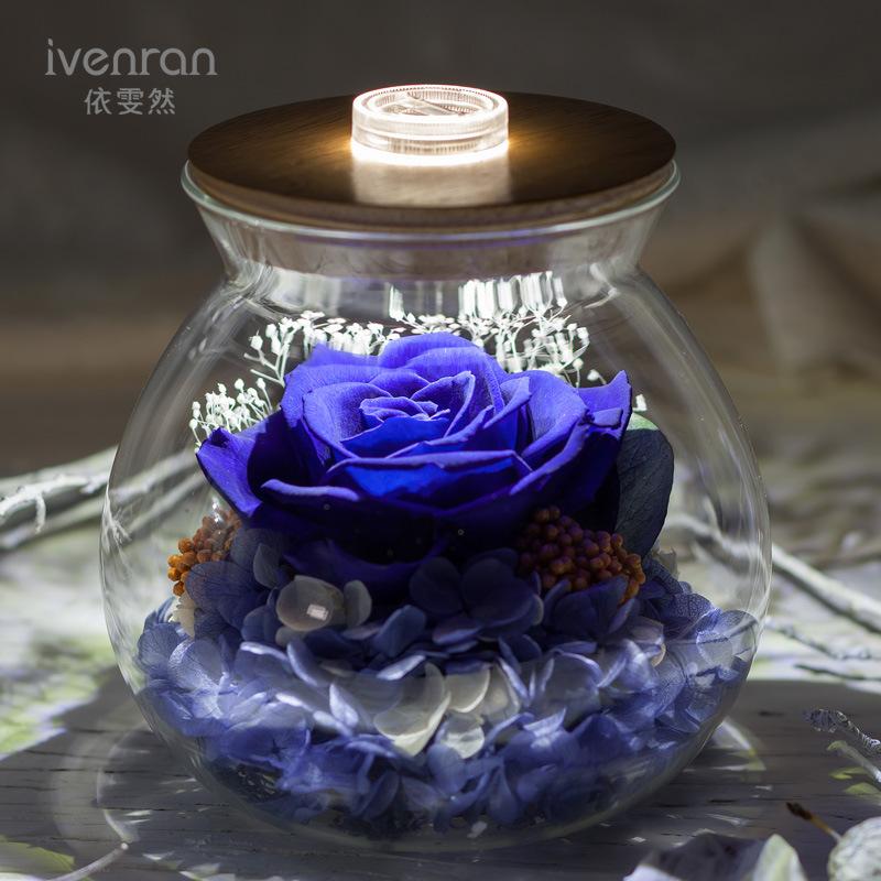 Ivenran Luminous Wish Bottle Fresh Flowers for Creative Birthday Valentine′s Day Gift