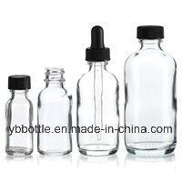 0.5oz/15ml, 1oz/30ml, 2oz/60ml, 4oz/120ml Clear Boston Round Glass Bottles