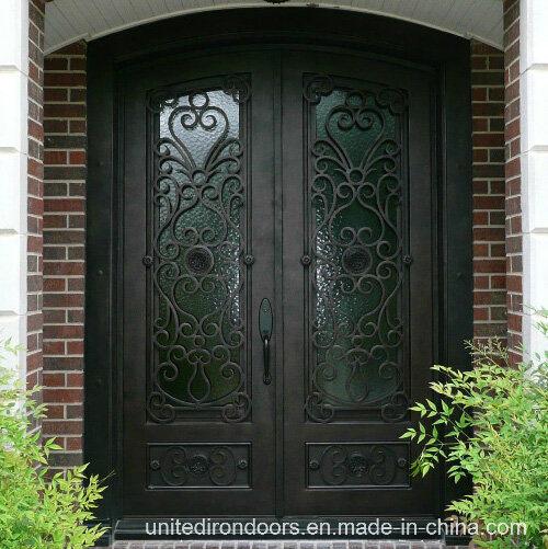 Eyebrow Top Wrought Iron Double Entry Door (UID-D026)