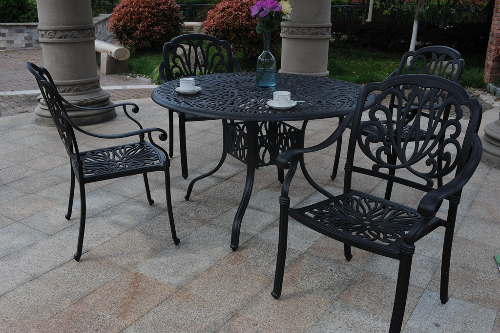Economical Leisure Classical Chair Set Hot Sale 5PCS Dining Sets Furniture Outdoor Garden Hotel Chat Conversational Set 4 People Seating Cast Aluminum Furniture