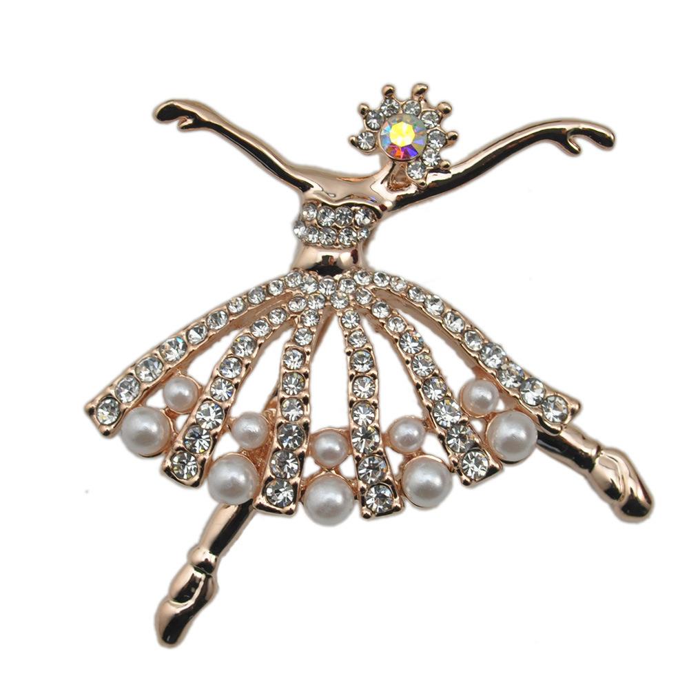 Fashion Small Ballet Dancer Silver Plated CZ Rhinestone Pearl Brooch