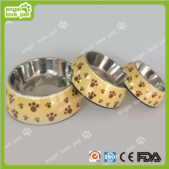 Classical Footprint Pattern Plastic Pet Dog Bowl