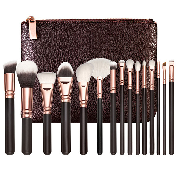 Professional 15 Pieces Elegant Rose Golden Makeup Brush Set