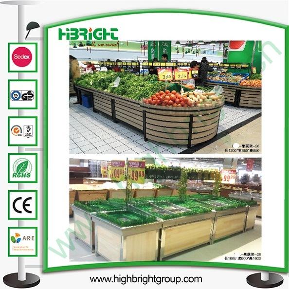 Wooden Supermarket Fruits Vegetables Display Racks