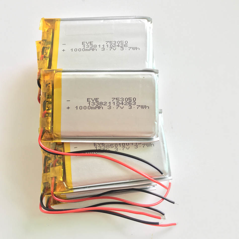 3.7V 1000mAh 753050 Lithium Polymer Lipo Rechargeable Battery for MP3 MP4 MP5 DVD Pad Mobile Tablet PC Power Bank