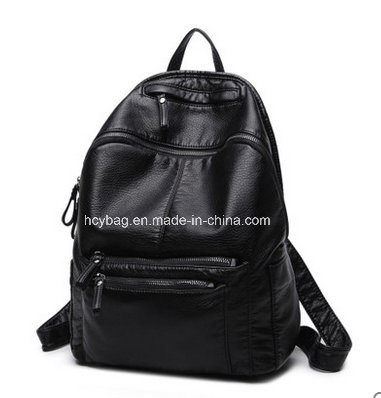 2017 Fashion Style PU Backpack, Wash Water Material Backpack Bag