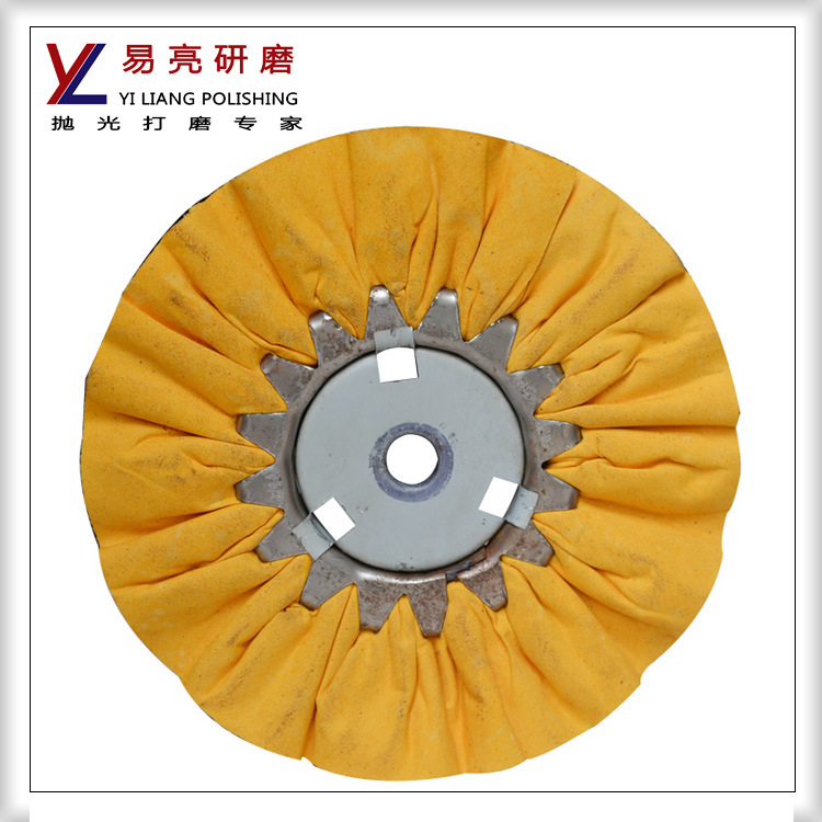 Yellow Cloth Fold Wind Polishing Wheel with Strong Cutting Force
