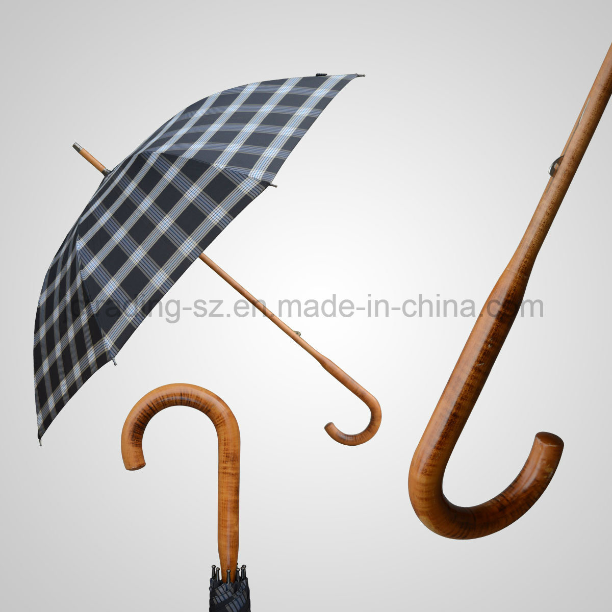 Classic Wooden Handle and Shaft Luxury Manual Rain/Sun Umbrella (JL-AQT132)