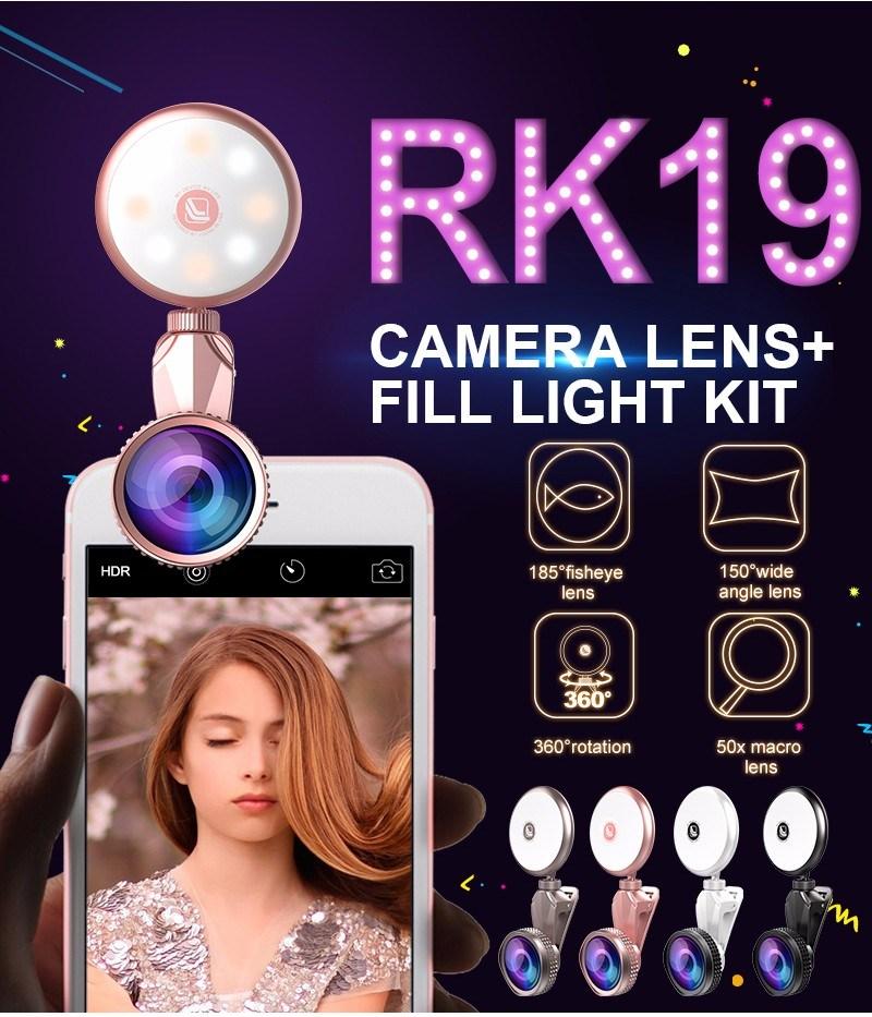 2017 Universal 2 in 1 Selfie Ring Flashlight with Fisheye Lens LED Selfie Flash Light (RK19)