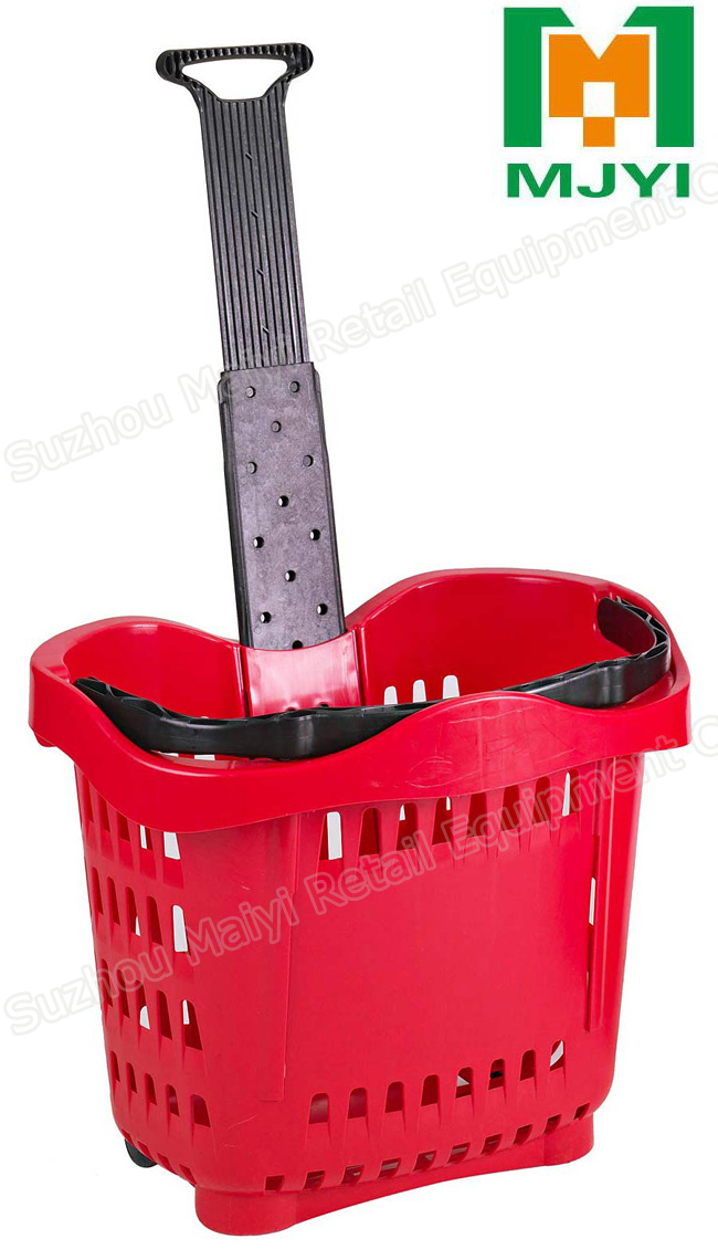 Apple Style Draw Lever Supermarket Plastic Shopping Basket
