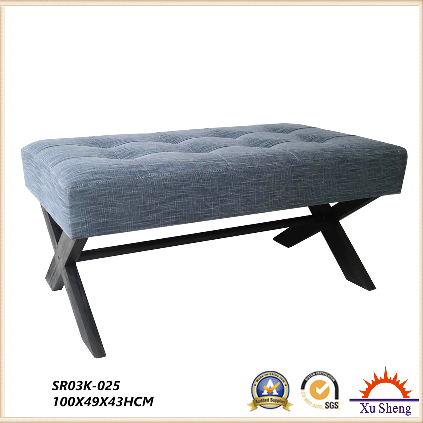 Living Room Furniture Fabric Modern Contemporary Button Tufted X-Leg Bench