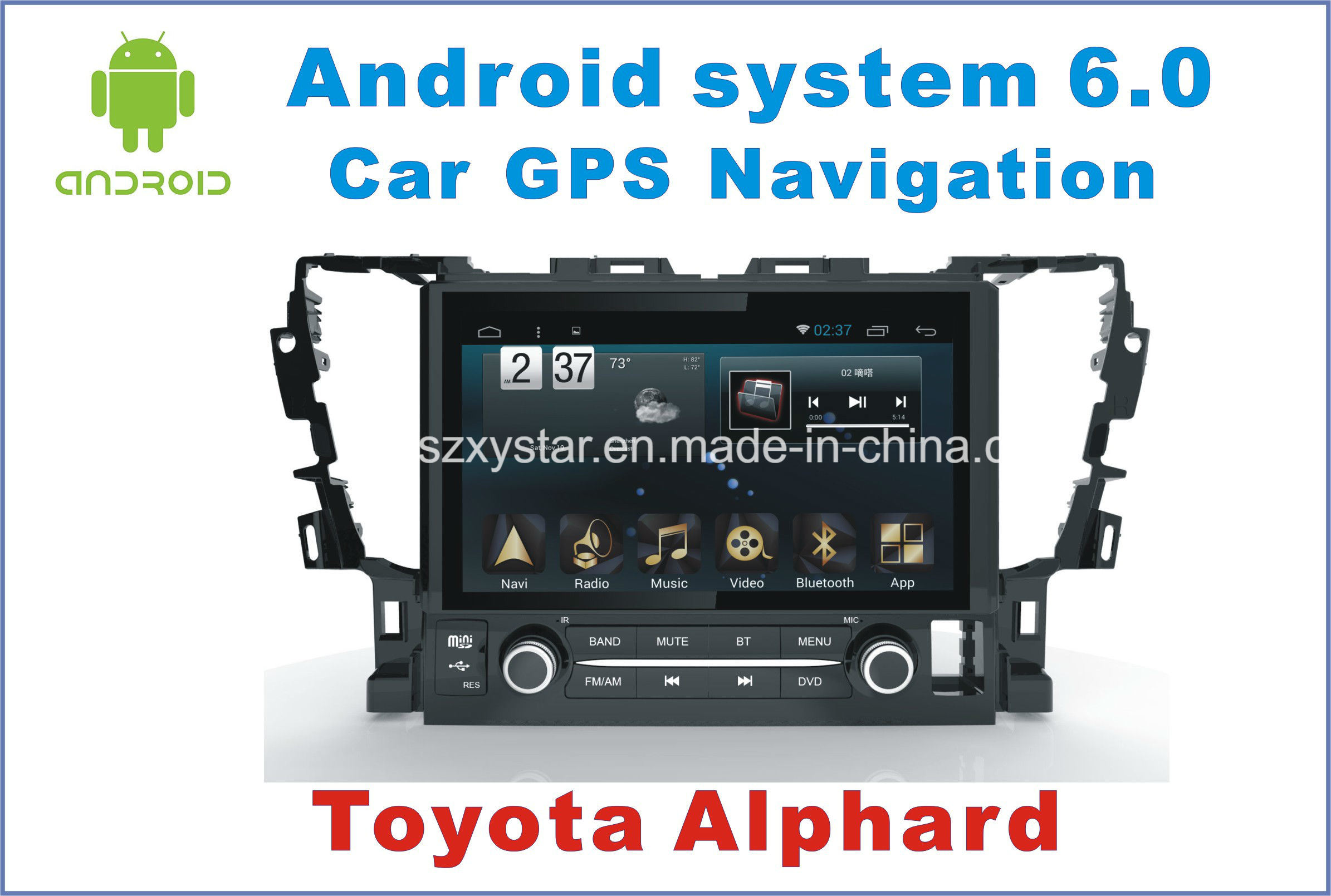 New Ui Android 6.0 Car GPS Navigation for Toyota Alphard 2015 with Car DVD Player
