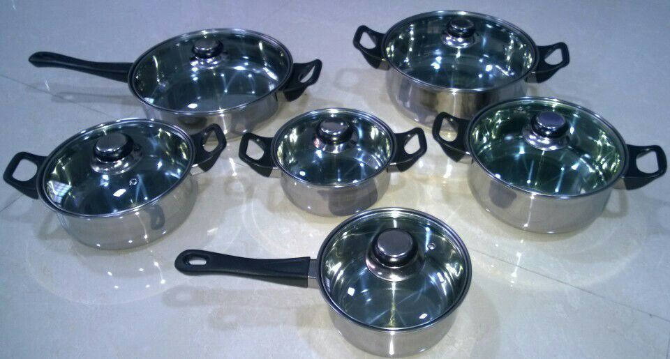 12PCS Capsuled Bottom Stainless Steel Cookware Set