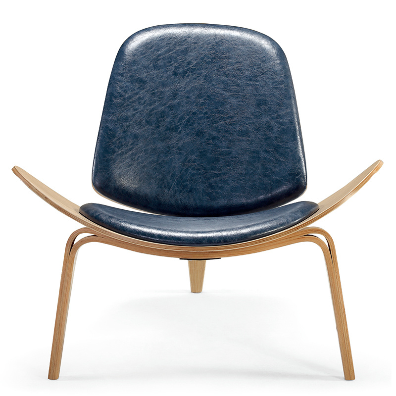 Shell Chair Smile Chair Living Room PU Leather and Wood Chair