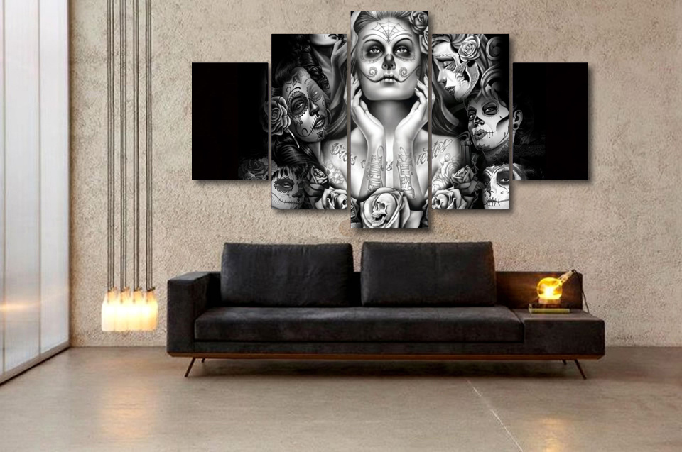HD Printed Day of The Dead Face Painting on Canvas Room Decoration Print Poster Picture Canvas Painting Mc-004