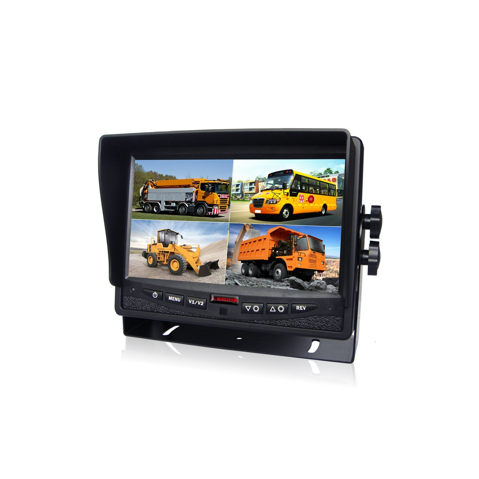 7inch Split Quad LCD Monitor Rear View Camera with Waterproof IP69k Camera for School Bus