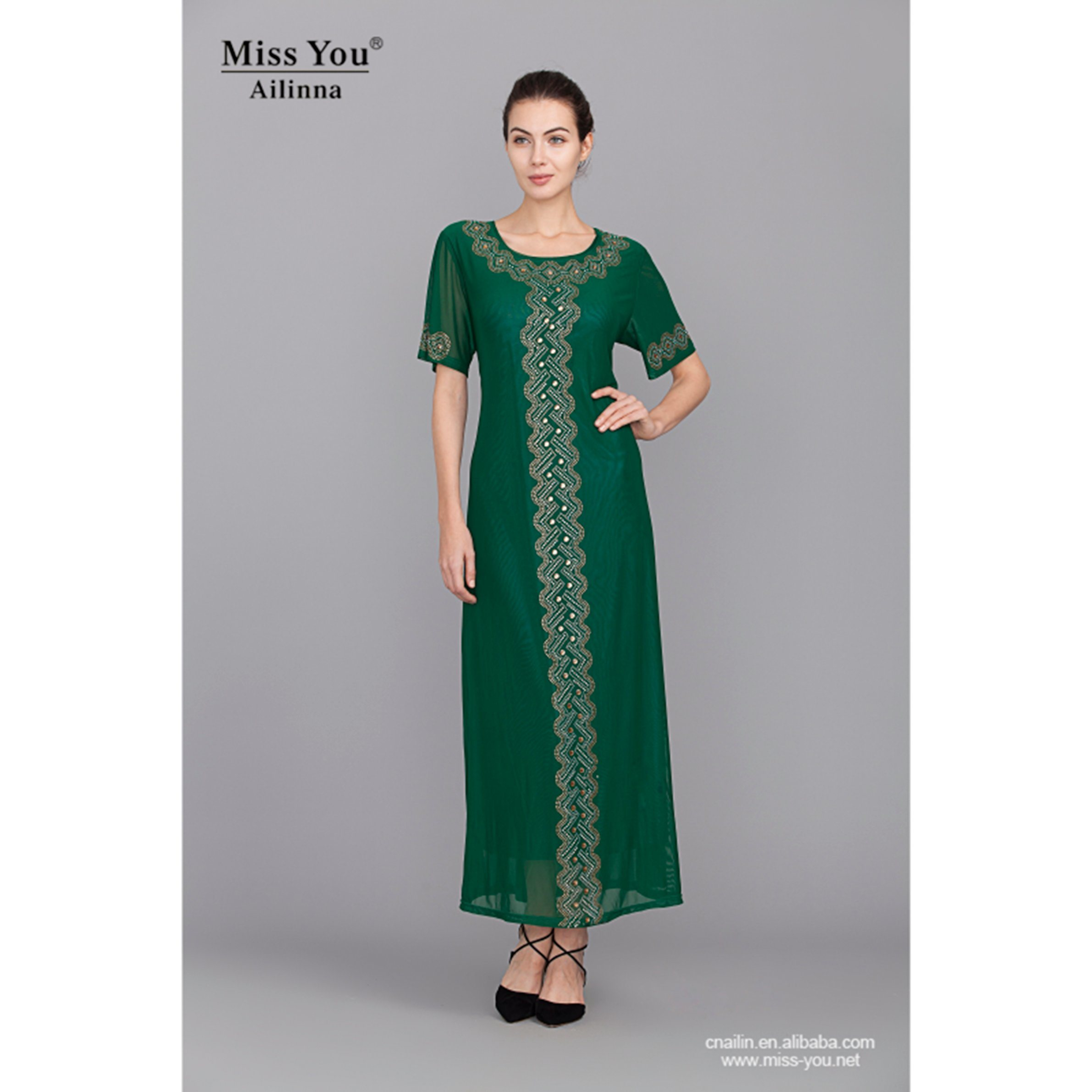Miss You Ailinna 305167 OEM Elegant Ladies Maxi Dress Green Cool Dress