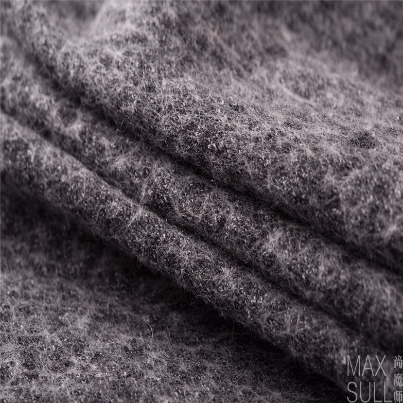 Wool/Cotton Fabric for Winter Coat in Black