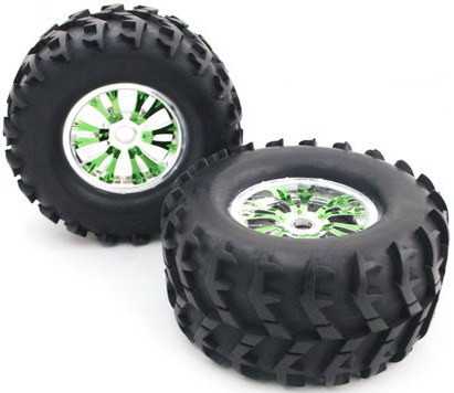 china 1 8 monster truck tire 12 spoke rim with green silver color china rc tire rc wheel. Black Bedroom Furniture Sets. Home Design Ideas