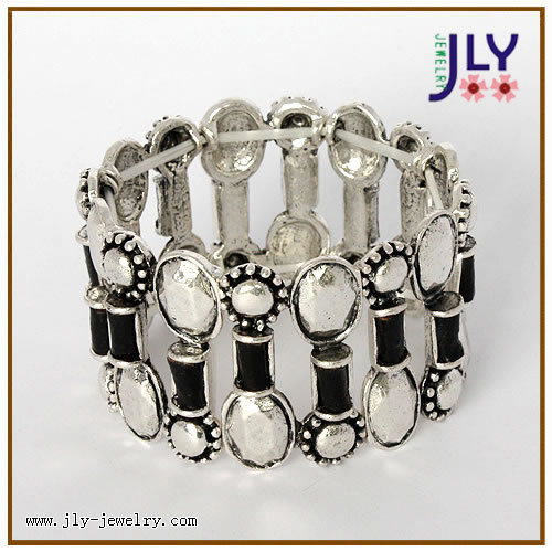 Wholesale Zinc Alloy Antique Silver Fashion Jewelry PU Bracelet/Bangle