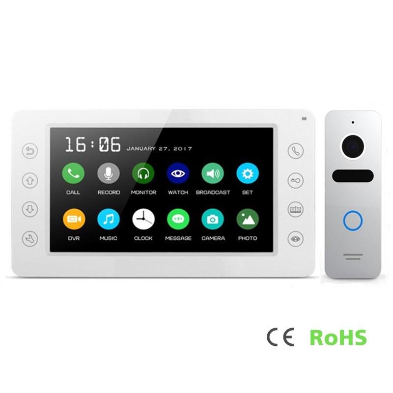 Intercom Home Security Interphone 7 Inches Video Doorphone with Memory