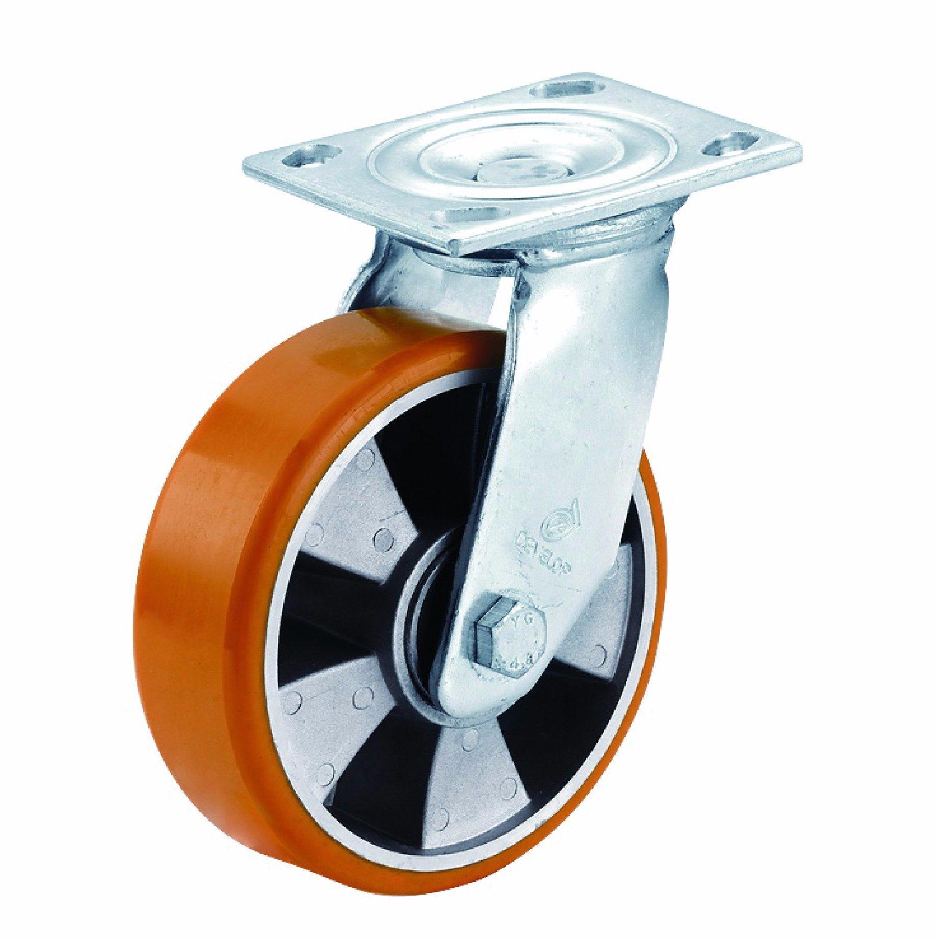 4/5/6/8 Inch Aluminum Centre Orange PU Swivel Caster Wheel