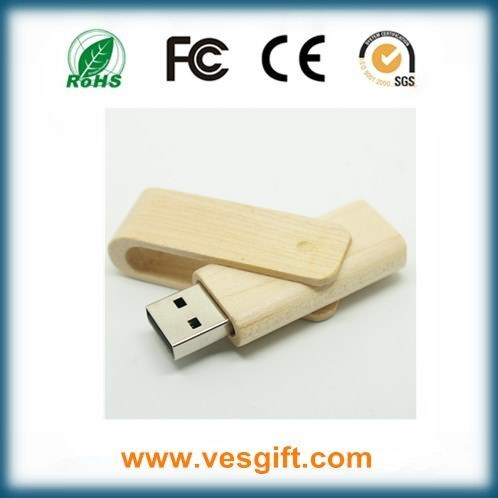 Hot Sell Corporate Gift Wooden Swivel USB Memory Stick