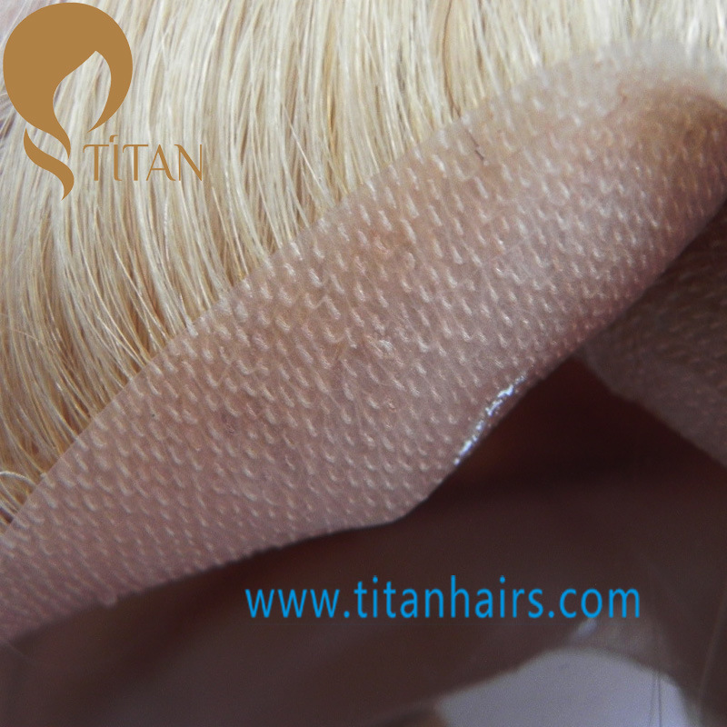 Blond Short Human Hair Replacement