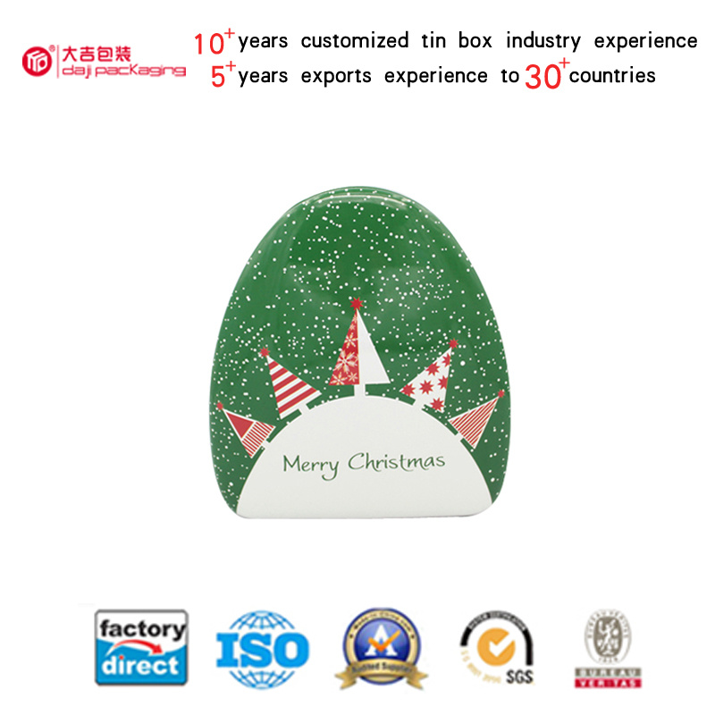 Christmas Circle Triangle Shaped Tin Box for Candy Packaging (T003-V4)