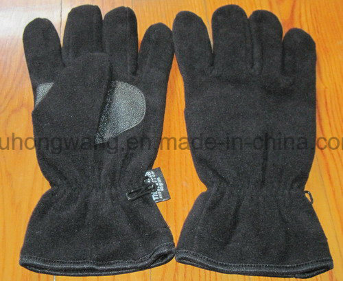 Men Warm Single Layer Polar Fleece Gloves with Embroidery
