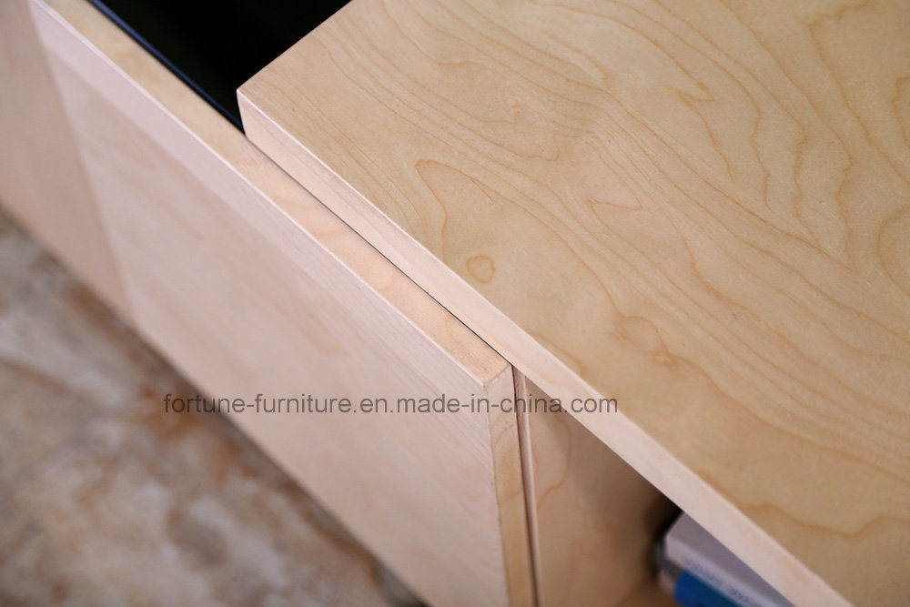 Modern Wooden Birch Veneer UV Matt Clear Lacquer TV Stand (AD-FY-N201-DSG)