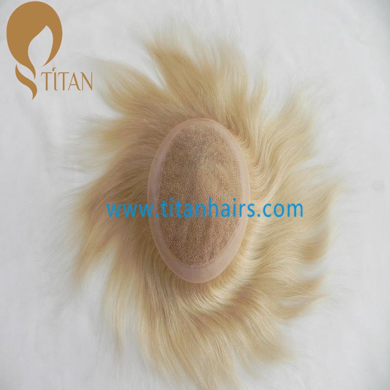 Blond Short Human Hair Replacement