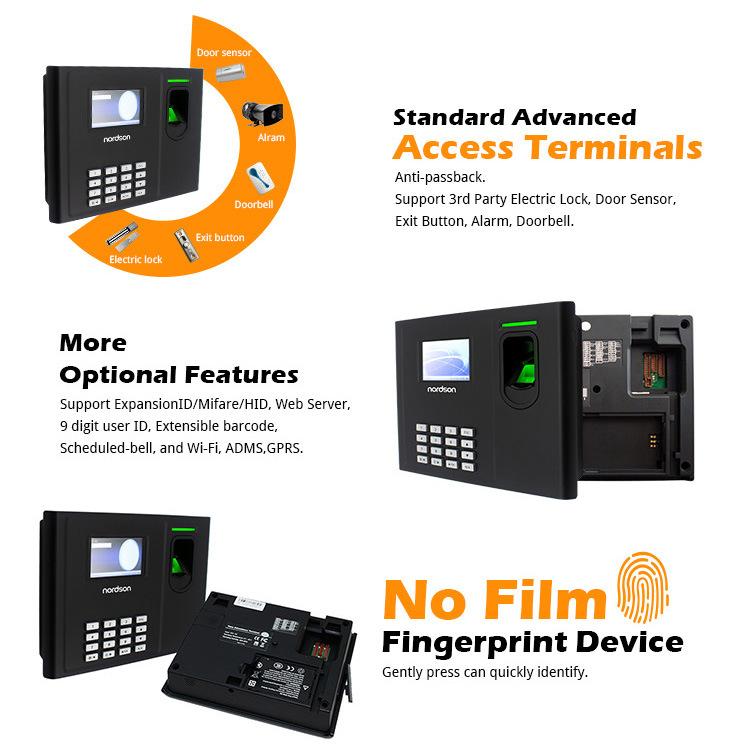 Multi Language Fingerprint Access Control Time Attendance System Machine Built-in Backup Battery