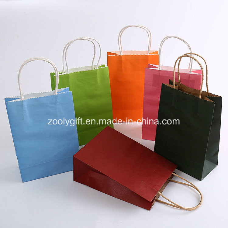Color Printing Twisted Handle Kraft Paper Carrier Bags