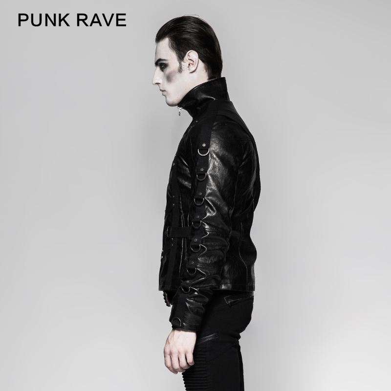 Unique Design Heavy Punk Black High Collar Short Leather Jackets (Y-764)