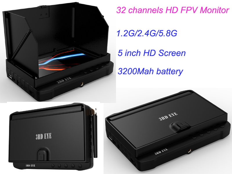 1.2g/2.4G/5.8g 5 Inch Built in Battery 40 Channel Wireless Fpv DVR Monitor Receiver with Sunshade