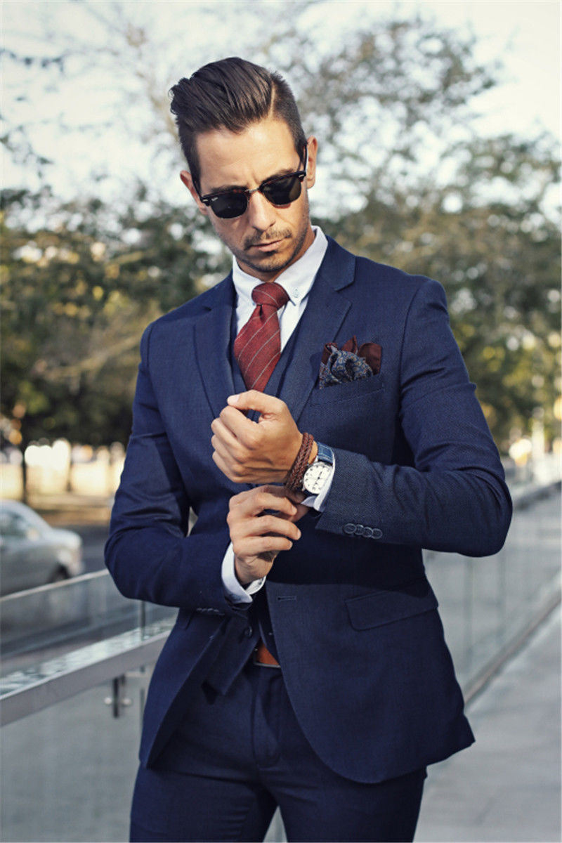 2-PC Navy Slim Fit Men′s Suits in Italian Style